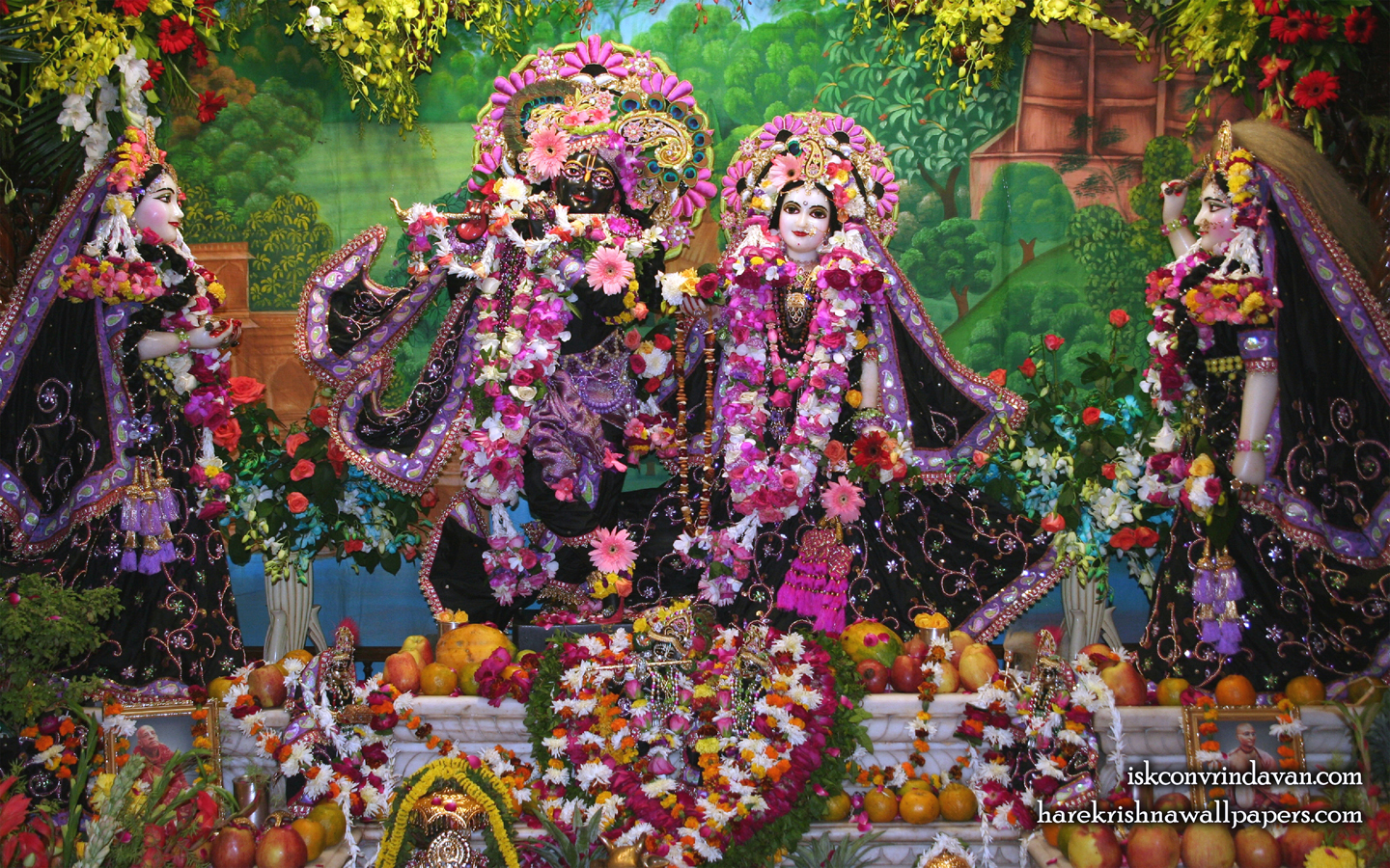 Sri Sri Radha Shyamsundar with Lalita Vishakha Wallpaper (003) Size 1440x900 Download