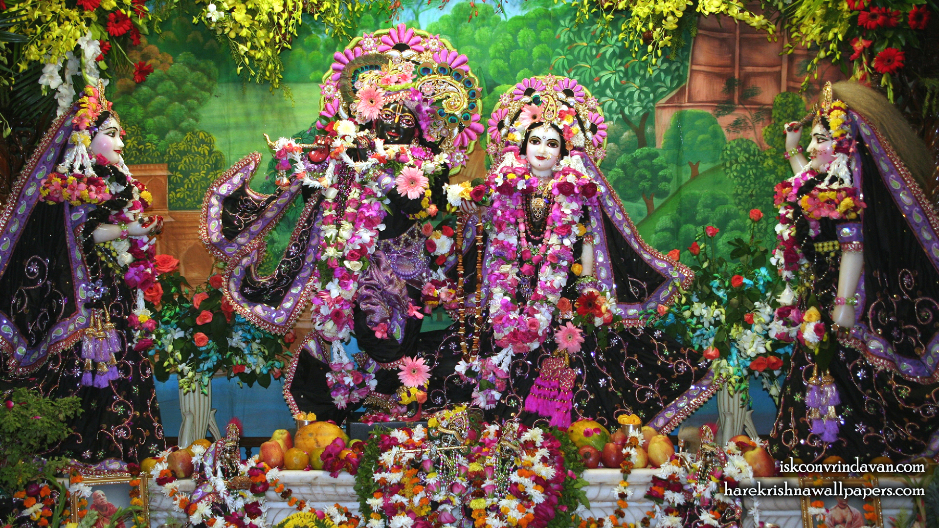 Sri Sri Radha Shyamsundar with Lalita Vishakha Wallpaper (003) Size 1920x1080 Download