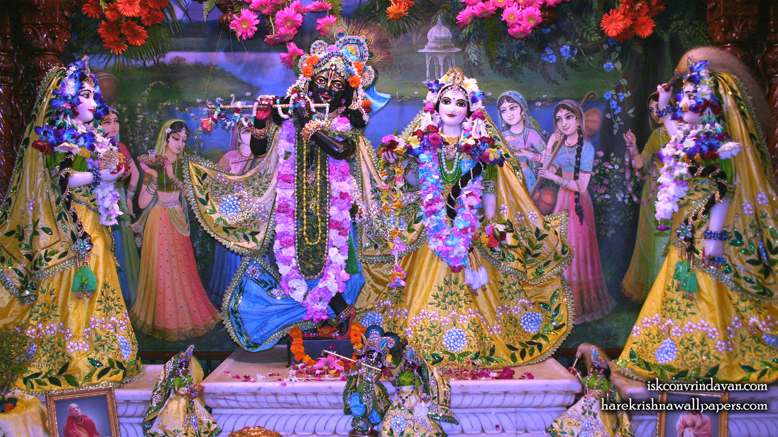 Sri Sri Radha Shyamsundar with Lalita Vishakha Wallpaper (004) Size 1600x900 Download
