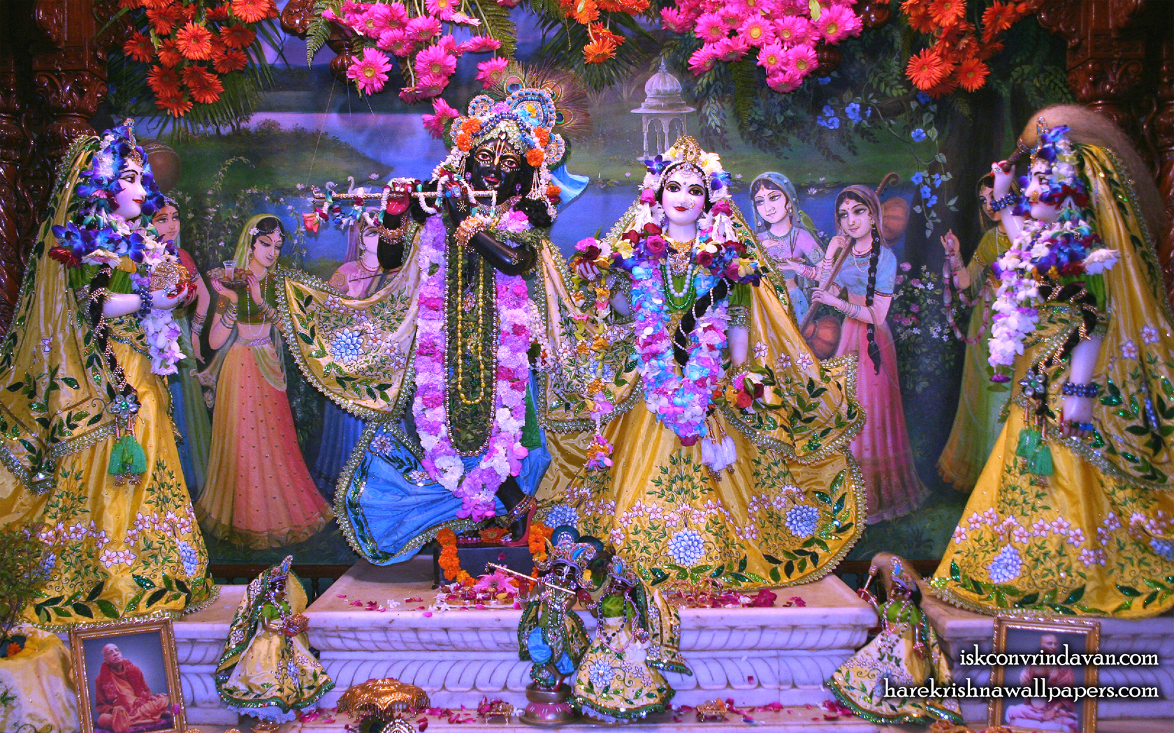 Sri Sri Radha Shyamsundar with Lalita Vishakha Wallpaper (004) Size 1680x1050 Download