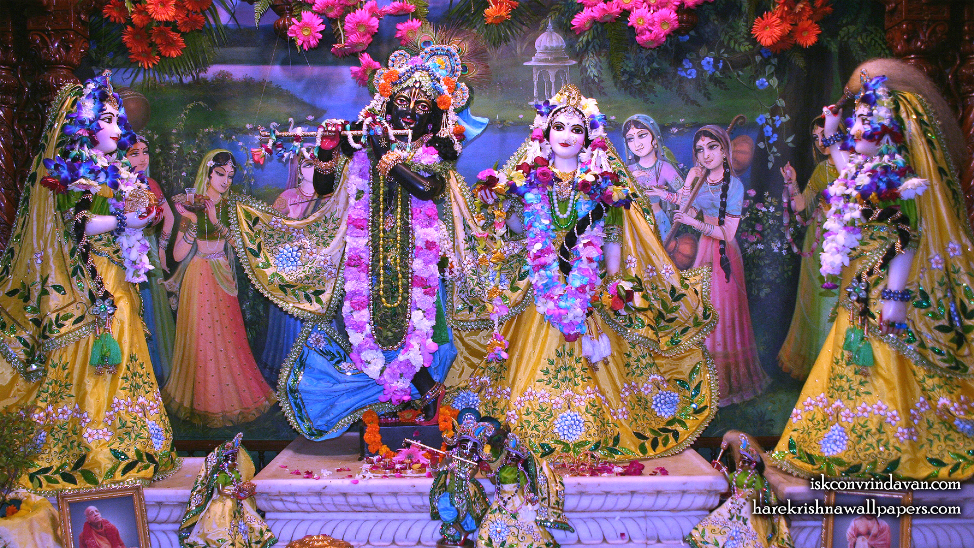Sri Sri Radha Shyamsundar with Lalita Vishakha Wallpaper (004) Size 1920x1080 Download