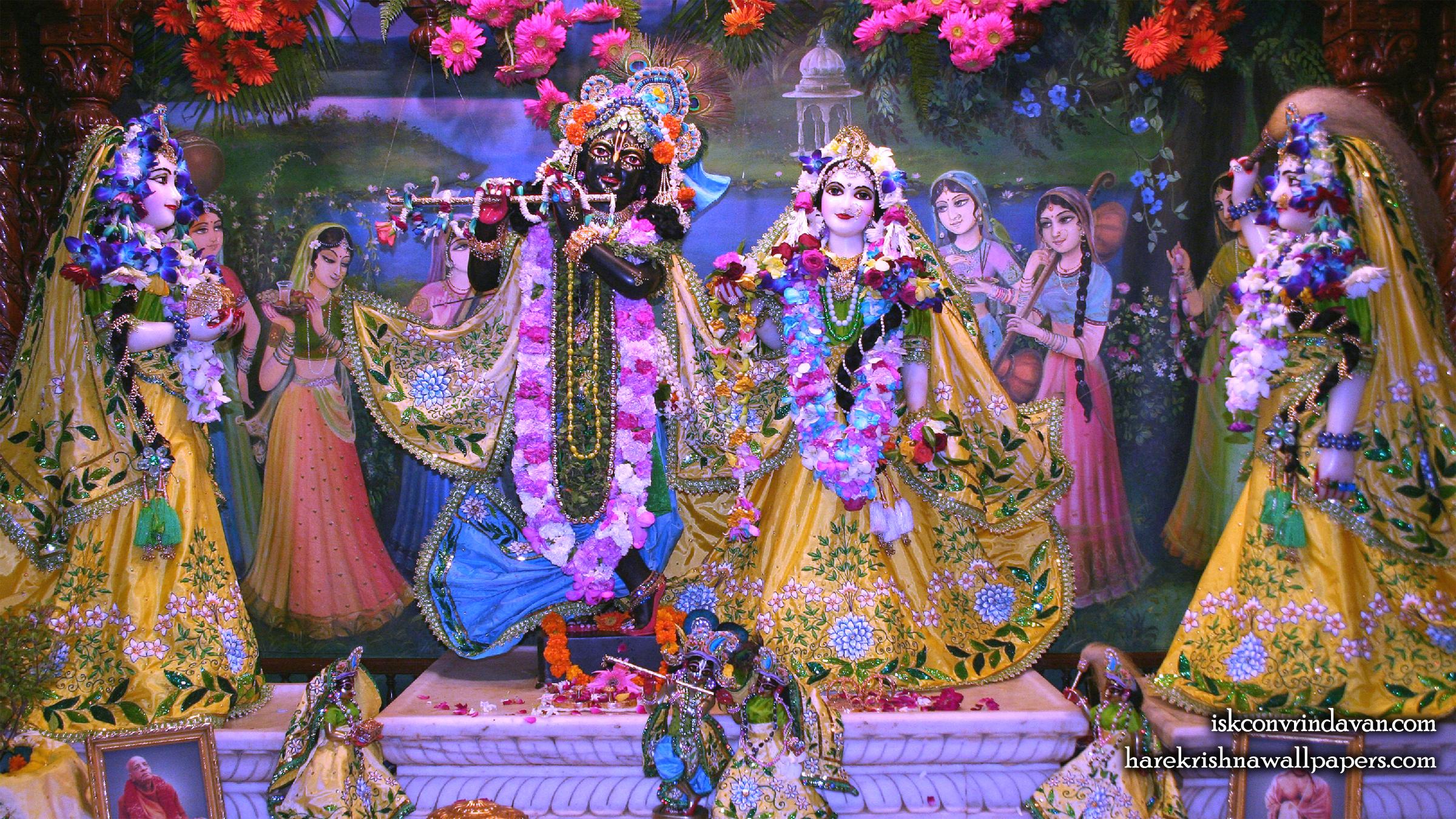 Sri Sri Radha Shyamsundar with Lalita Vishakha Wallpaper (004) Size 2400x1350 Download