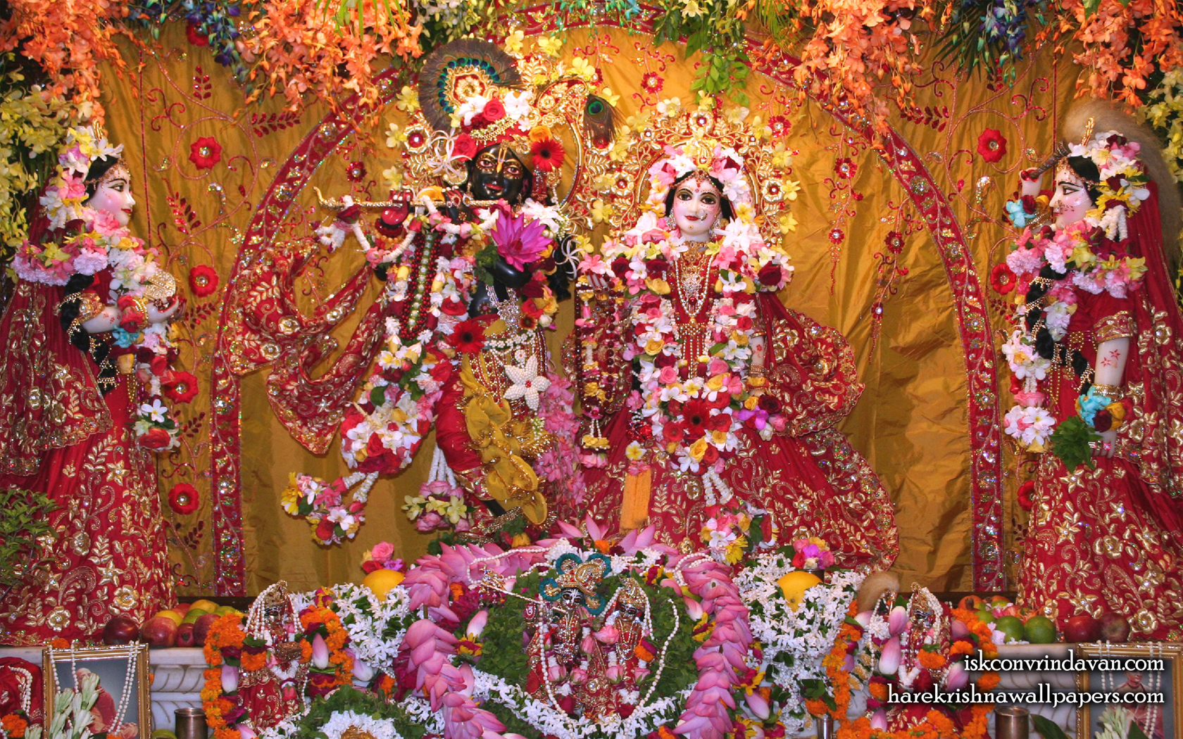 Sri Sri Radha Shyamsundar with Lalita Vishakha Wallpaper (005) Size 1680x1050 Download