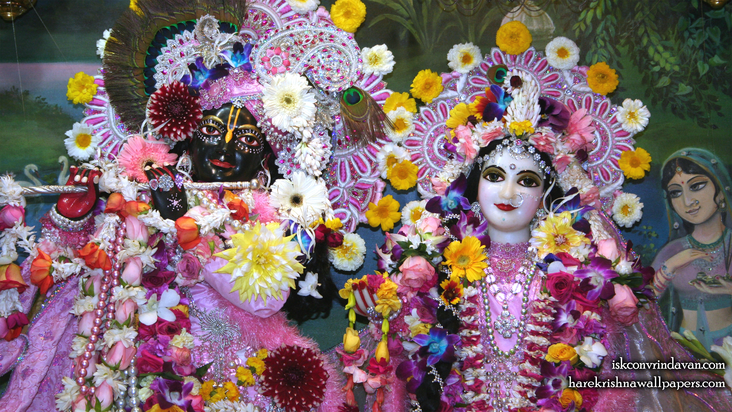 Sri Sri Radha Shyamsundar Close up Wallpaper (006) Size 2400x1350 Download