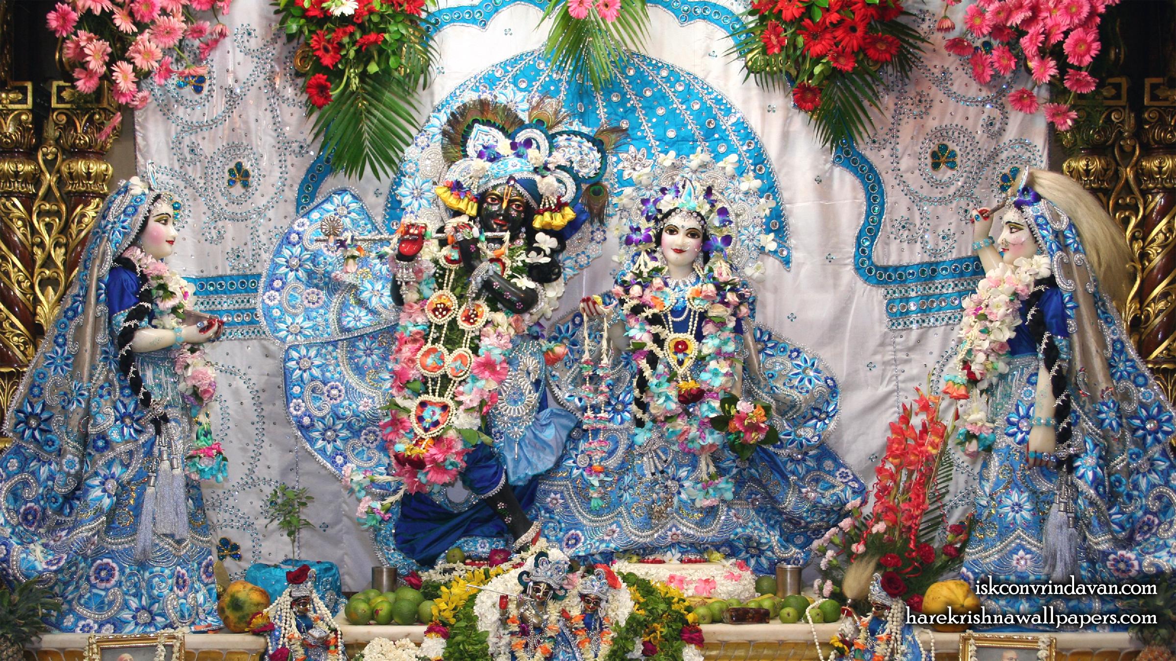 Sri Sri Radha Shyamsundar with Lalita Vishakha Wallpaper (007) Size 2400x1350 Download