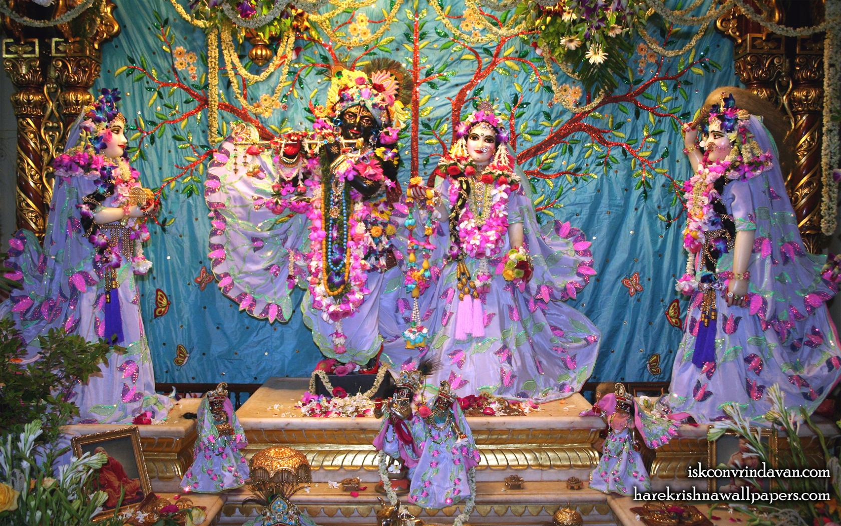 Sri Sri Radha Shyamsundar with Lalita Vishakha Wallpaper (008) Size 1680x1050 Download