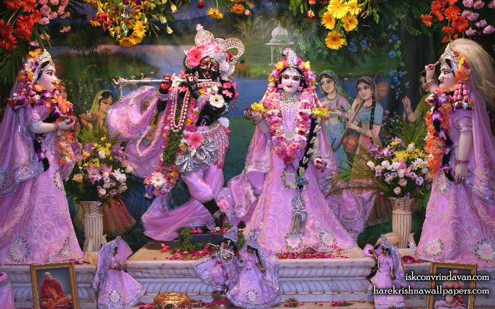 Sri Sri Radha Shyamsundar with Lalita Vishakha Wallpaper (009) Size 1680x1050 Download