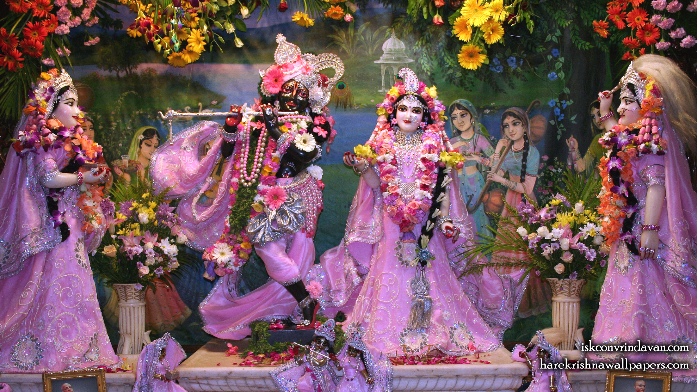 Sri Sri Radha Shyamsundar with Lalita Vishakha Wallpaper (009) Size 2400x1350 Download